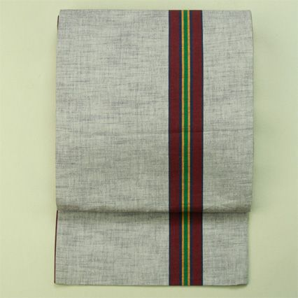Zentsu fukuro obi / 杢小豆色地 渋い多色の縞柄 全通洒落袋帯