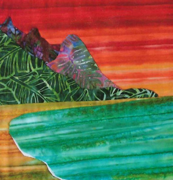 HANALEI BAY Kauai Fabric Quilt Square Cool Blue Green Batik North Shore Hawaii