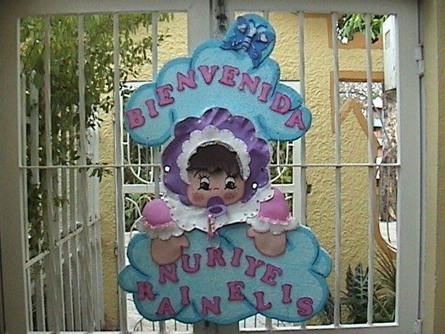 Bienvenidos de baby shower en foami niña - Imagui