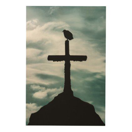 Bird at Top of Cross Collage Illustration Wood Wall Decor ...