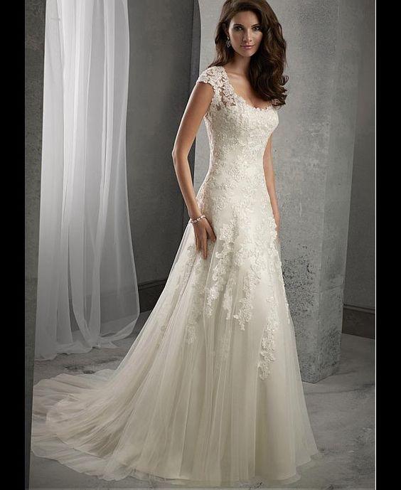Hochzeitskleider - Elegante Tüll A-Linie wulstige Spitze ...