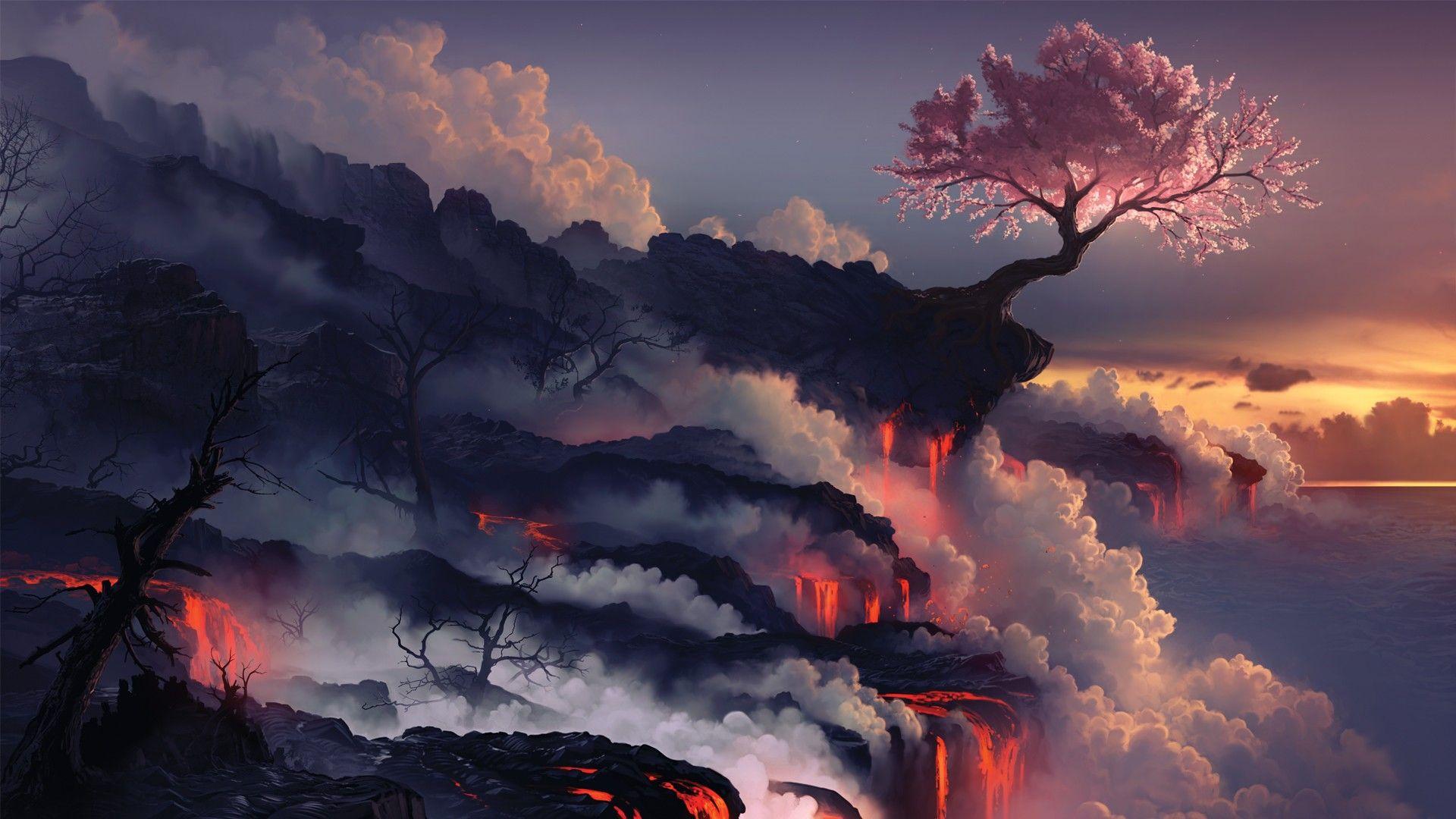 Cherry Blossom Clouds Landscape Petals Trees Sky Nature Wallpaper No 203028 Landscape Wallpaper Fantasy Landscape Volcano Wallpaper