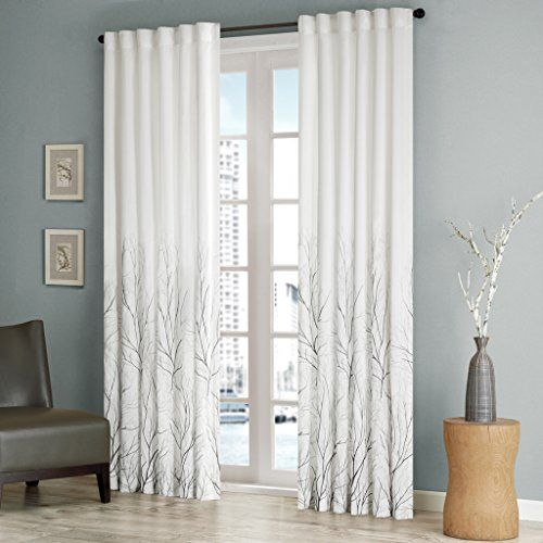 Embroidered Andora Back Tab Fabric Window Curtains 50X84 White Curtains For Living room Transitional Rod Pocket Curtains For Bedroom 1-Panel Pack