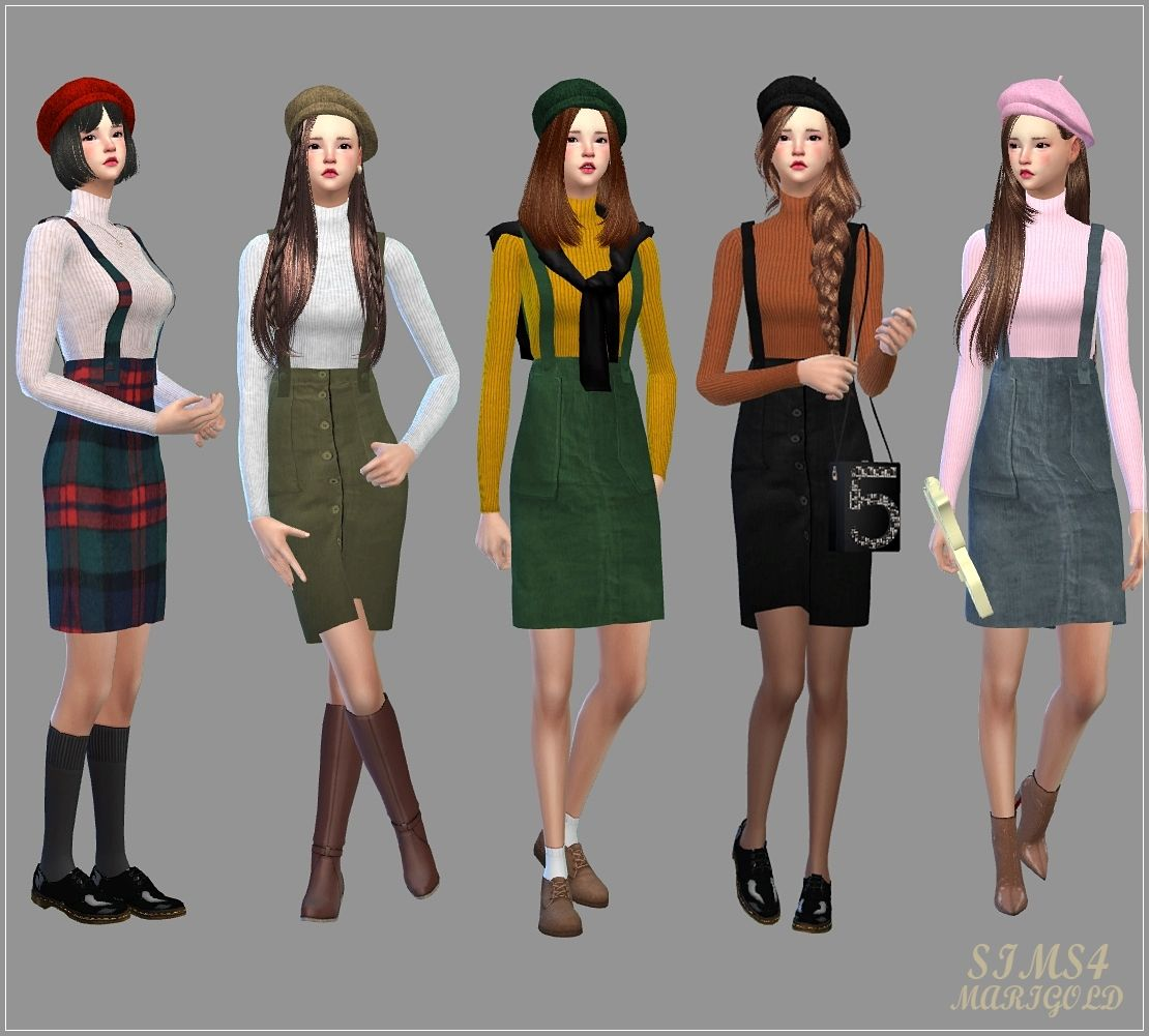 Sims4 Marigold Suspender H Line Skirt One Piece H Sims 4 Clothes