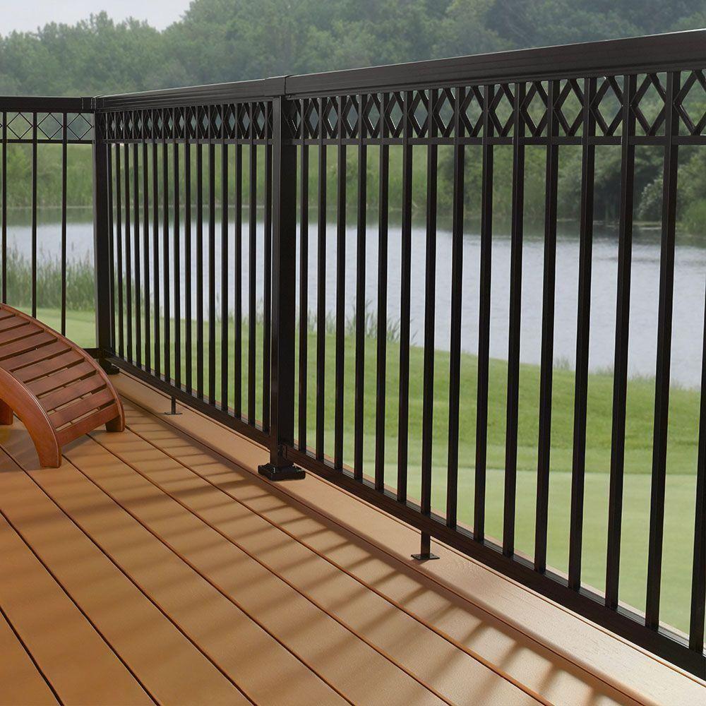 Aluminum Hand and Base Rail, Black, Deck, Porch