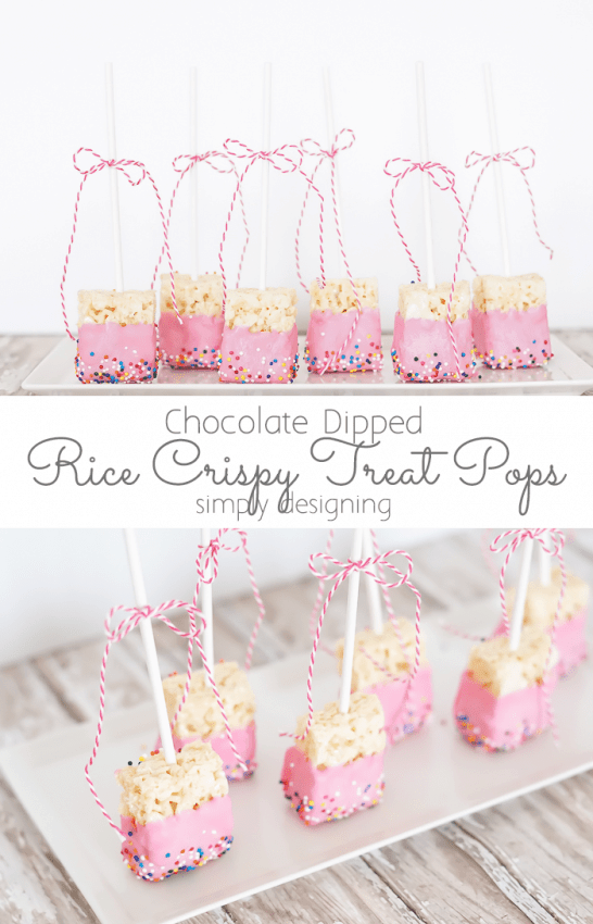 Rice Crispy Treat Pops Dipped in Chocolate and Sprinkles #crispytreats