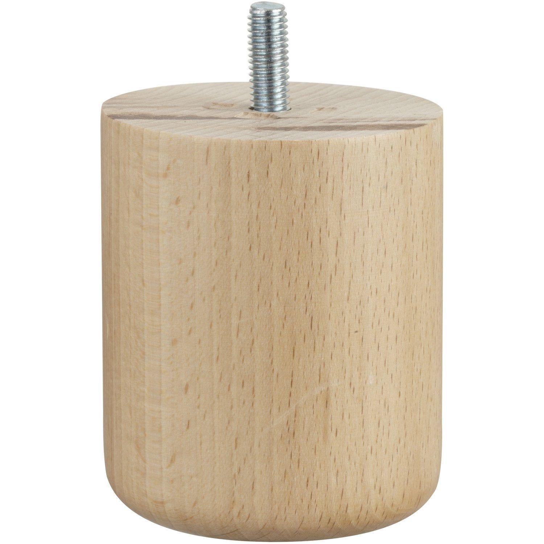 Pied De Meuble Cylindrique Fixe Hetre Vernis Blanc 8 Cm Pied Meuble Vernis Blanc Et Meuble