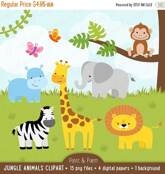 Jungle Clip Art Animals Clip Art Digital Papers Baby Etsy Animal Clipart Elephant Clip Art Baby Jungle Animals