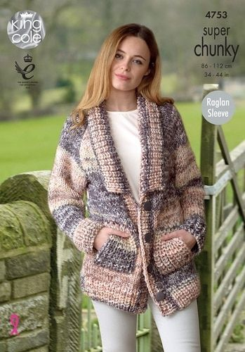 0d5eee2b8 King Cole Knitting Pattern 4753 for Jacket   Sweater to knit in King Cole  Big Value Super Chunky Tints yarn.