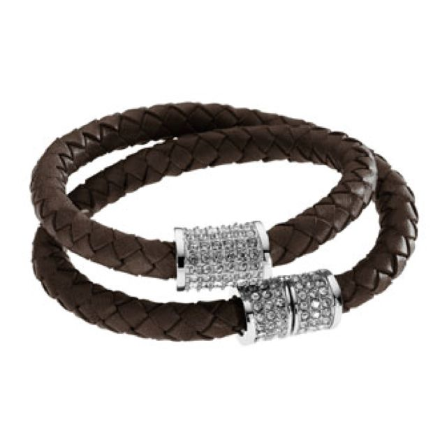 Michael Kors Double Wrap Braided Leather Bracelet With Pave Detail Chocolate