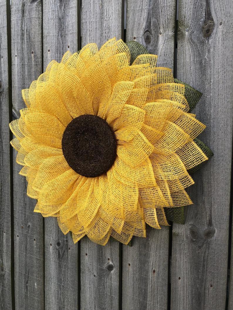 Photo of Sunflower wreath, burlap sunflower wreath, sunflower burlap wreath, summer wreath, front door wreath