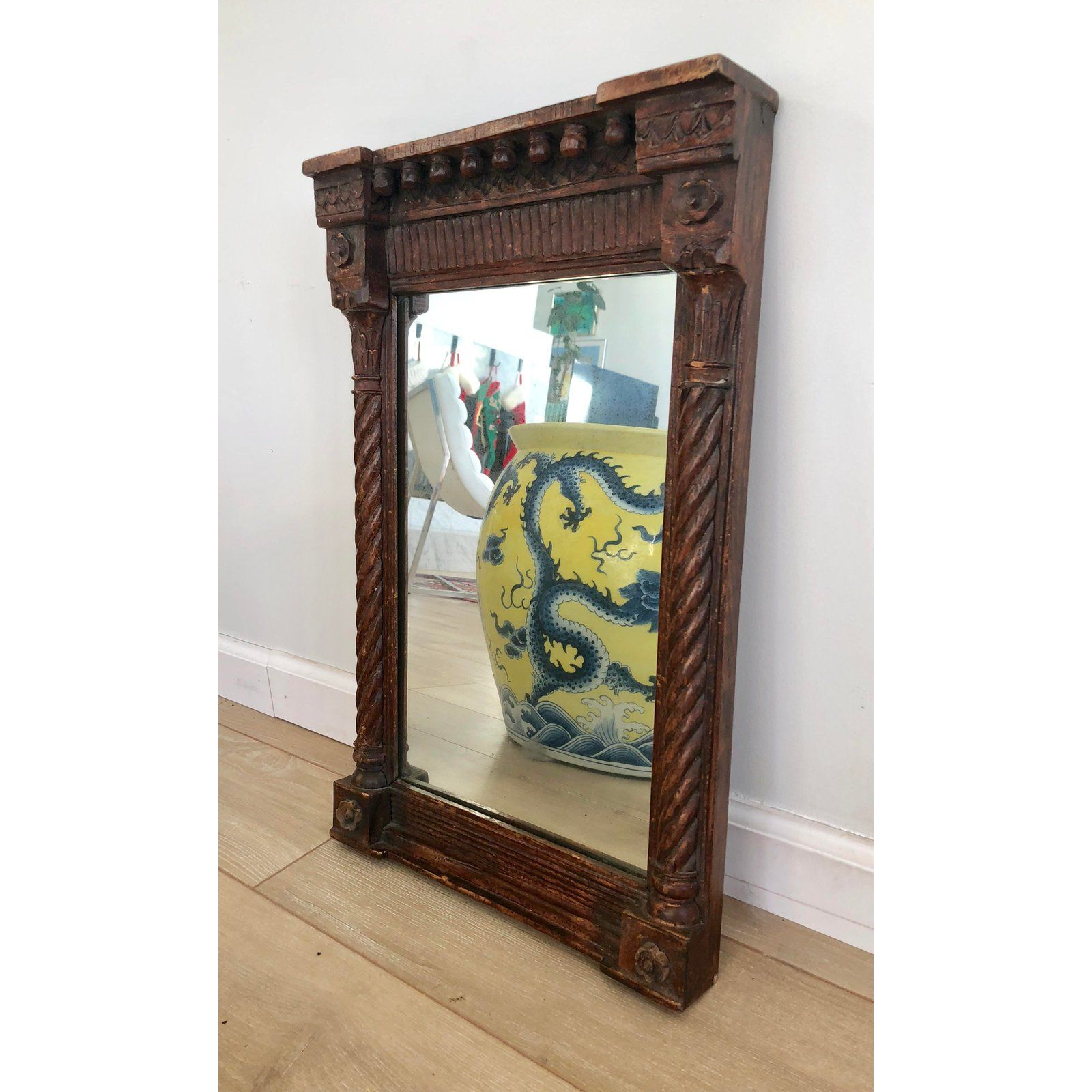 Rustic Antique Hand Carved Wooden Wall Mirror For Sale Image 3 Of 12 Wood Carving Faces Wood Carving Art Wood Carving Designs