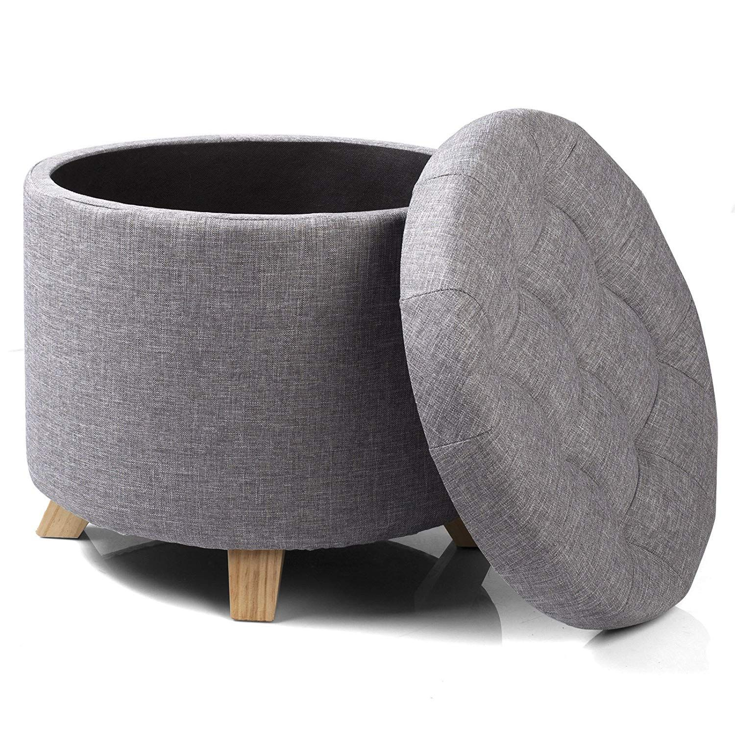 Woltu Sh19hgr Linen Storage Foot Stool Ottoman Round Storage Box Single Seat With Four Sol Upholstered Footstool Chair And Ottoman Oversized Chair And Ottoman