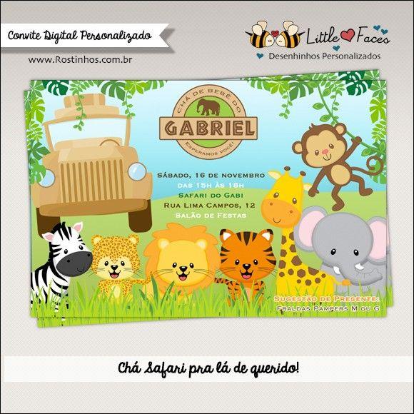 Convite Chá De Bebê Safari Para Imprimir Chá De Bebê Safari