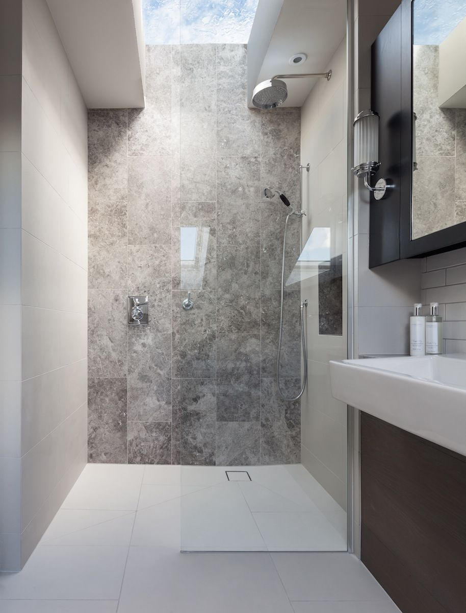 Bathroom Joinery peek architecture + design - walk in shower, stone feature wall