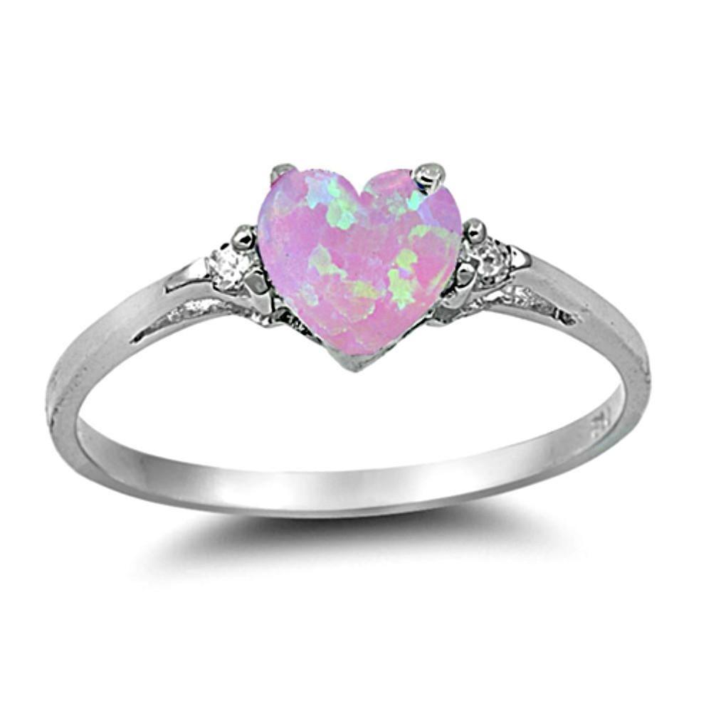 Opal 5mm Heart Shape Mom /& Diamond Pendant .925 Sterling Silver