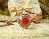 Picture Agate Silver 925 Ring, Oxidised, Handmade, Cocktail Ring