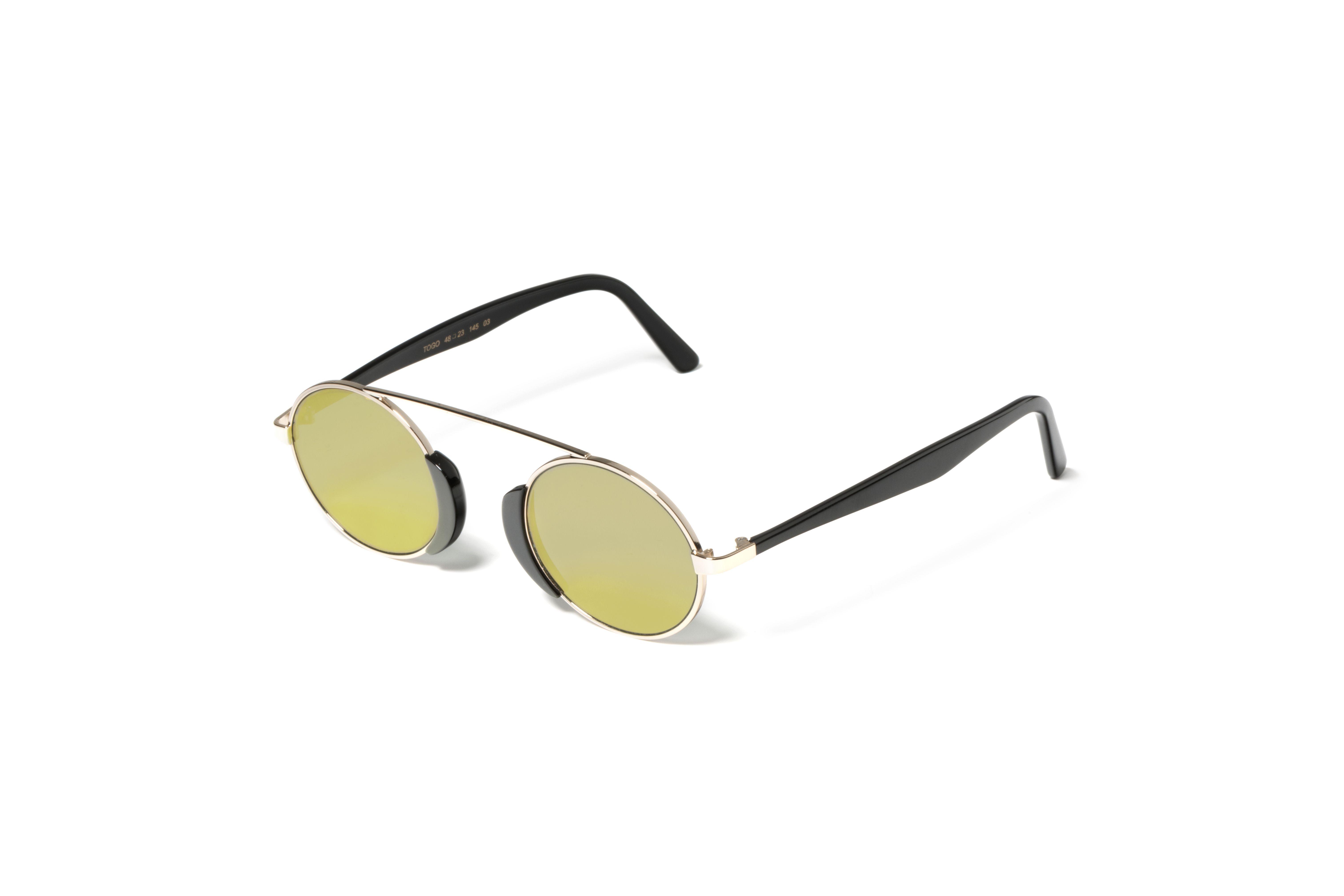 L.G.R sunglasses Mod. TOGO black flat gold mirror