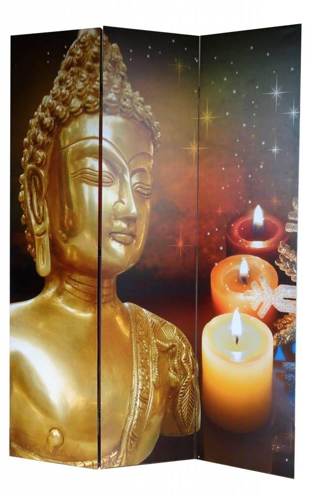 Boeddha Met Led Verlichting.Canvas Kamerscherm Boeddha Goud Met Led Verlichting Silvia