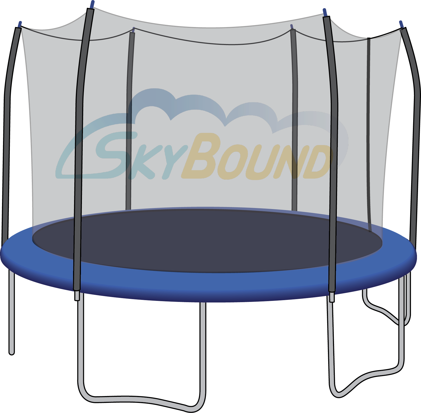 12 Ft Trampoline Net: 6 Straight-Curved Pole Enclosure W