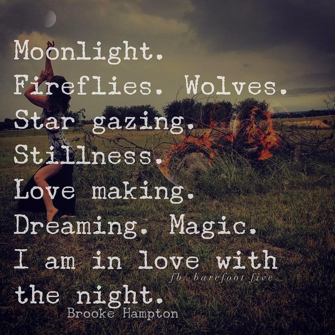 luz de la luna .   Luciérnagas lobos . Mirando las estrellas. Quietud haciendo el amor Soñando magia Estoy enamorado de la noche- GYPSY SOUL BAREFOOT
