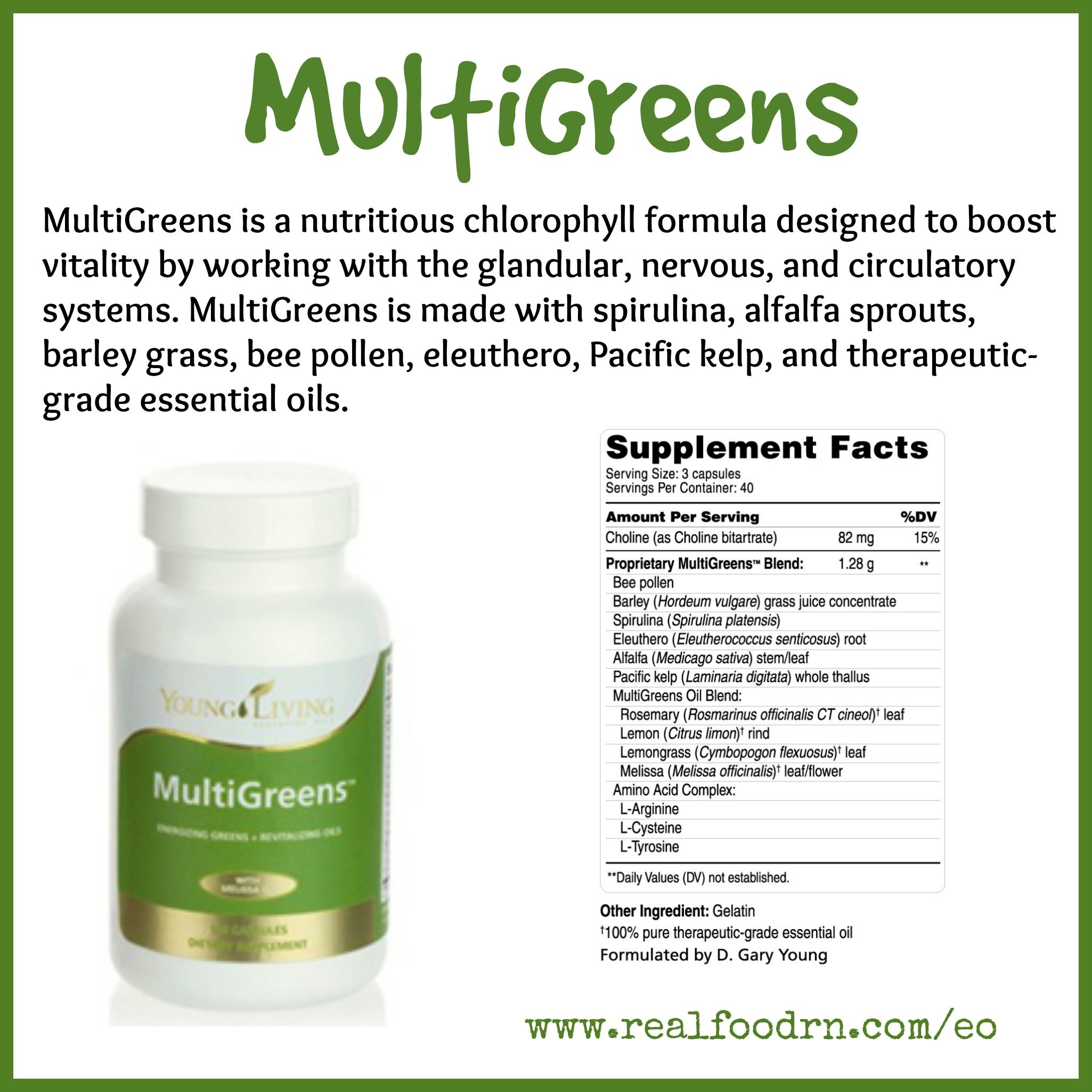 MultiGreens is a nutritious chlorophyll formula designed to boost vitality by working with the glandular, nervous, and circulatory systems. #MultiGreens is made with spirulina, alfalfa sprouts, barley grass, bee pollen, eleuthero, Pacific kelp, and therapeutic-grade essential oils.