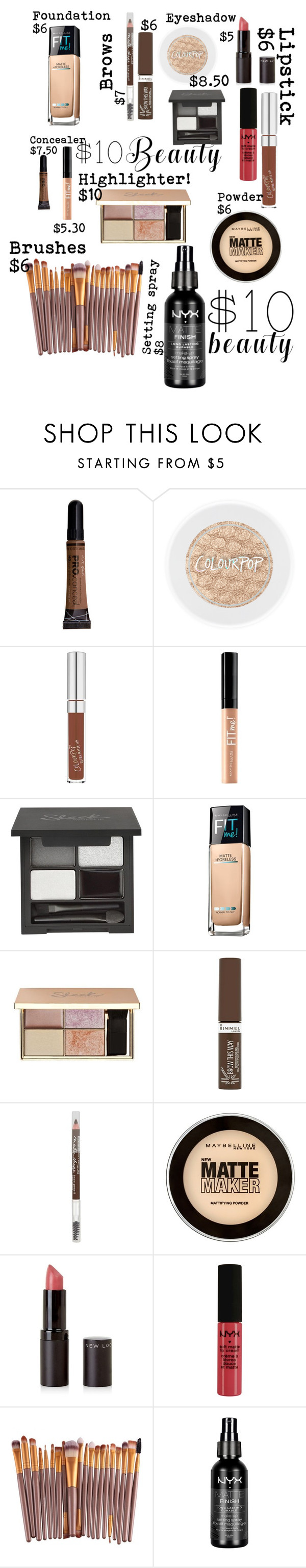 """""""full face"""" by koodita ❤ liked on Polyvore featuring Maybelline, Rimmel, New Look, NYX and 10dollarbeauty"""