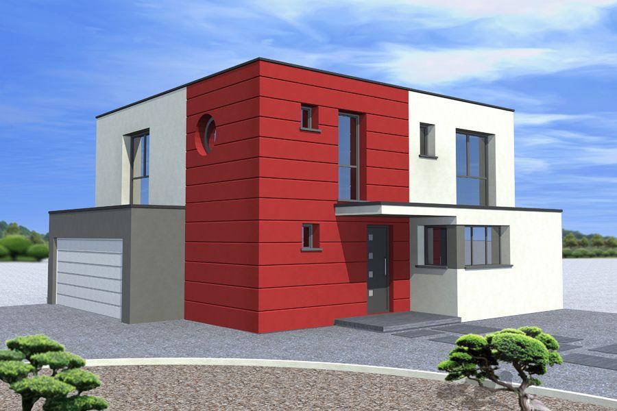 Exemple de projet de #construction de #maison avec un toit plat - exemple de facade de maison