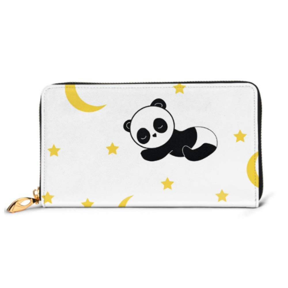Fashion Handbag Zipper Wallet Pattern Texture Night Sleeping Panda Phone Clutch Purse Evening Clutch Blocking Leather Wallet Multi Card Organizer