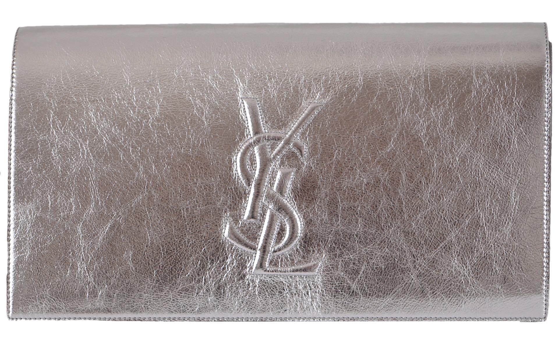 56fb7951f24 Saint Laurent New Ysl 361120 Leather Large Belle De Jour Silver Clutch. Get  the trendiest Clutch of the season! The Saint Laurent New Ysl 361120 Leather  ...