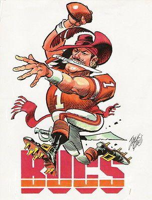 Vintage Nfl Football Tampa Bay Buccaneers Caricature Print By Jack Davis Buccaneers Football Tampa Bay Buccaneers Football Tampa Bay Buccaneers