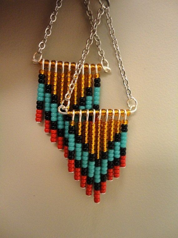 Native Beaded Earrings on Silver Plated by atlanticartcouture, $15.00