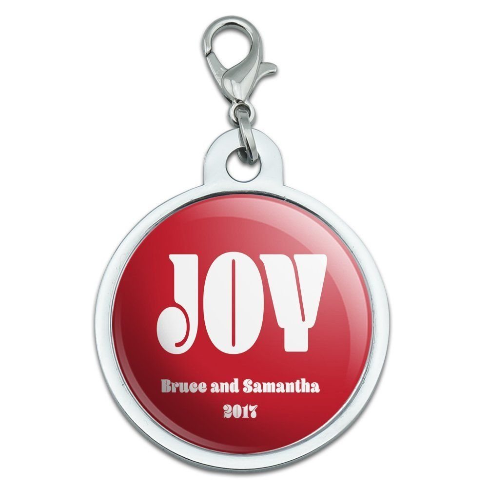 Chrome Plated Metal Small Pet Id Dog Cat Tag Zodiac: Graphics And More Personalized Custom Christmas Joy Red