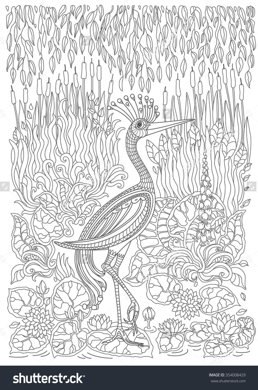 Stock Vector Exotic Bird Fantastic Flowers Branches Leaves Coloring Pages StressColorAnimalsBooks