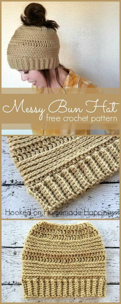 Crochet Messy Bun Beanie Pattern   Gorros, Tejido y Puntos