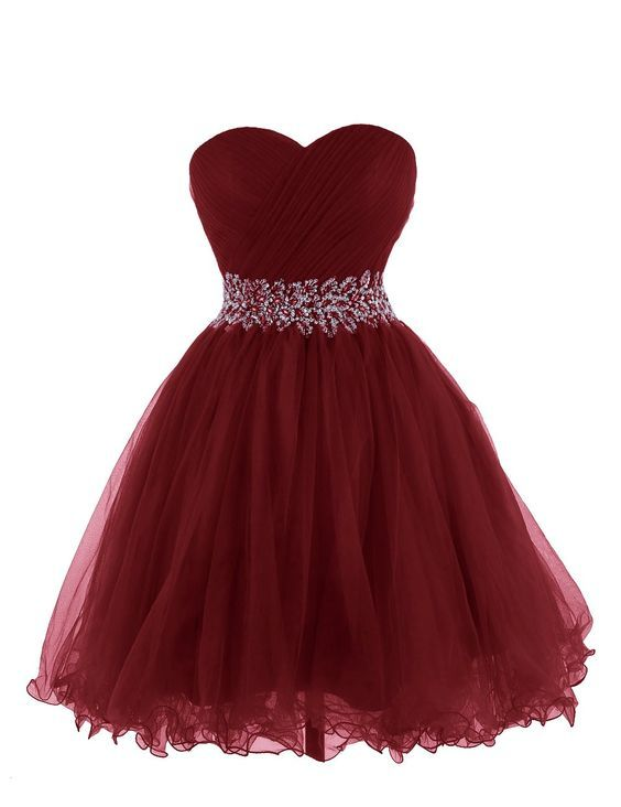 16440b39e Beautiful Wine Red Short Tulle #Homecoming #Dresses, Short #Prom ...