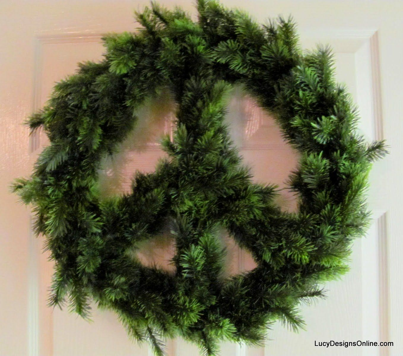 Diy Peace Sign Christmas Wreath Using Garland Lucy