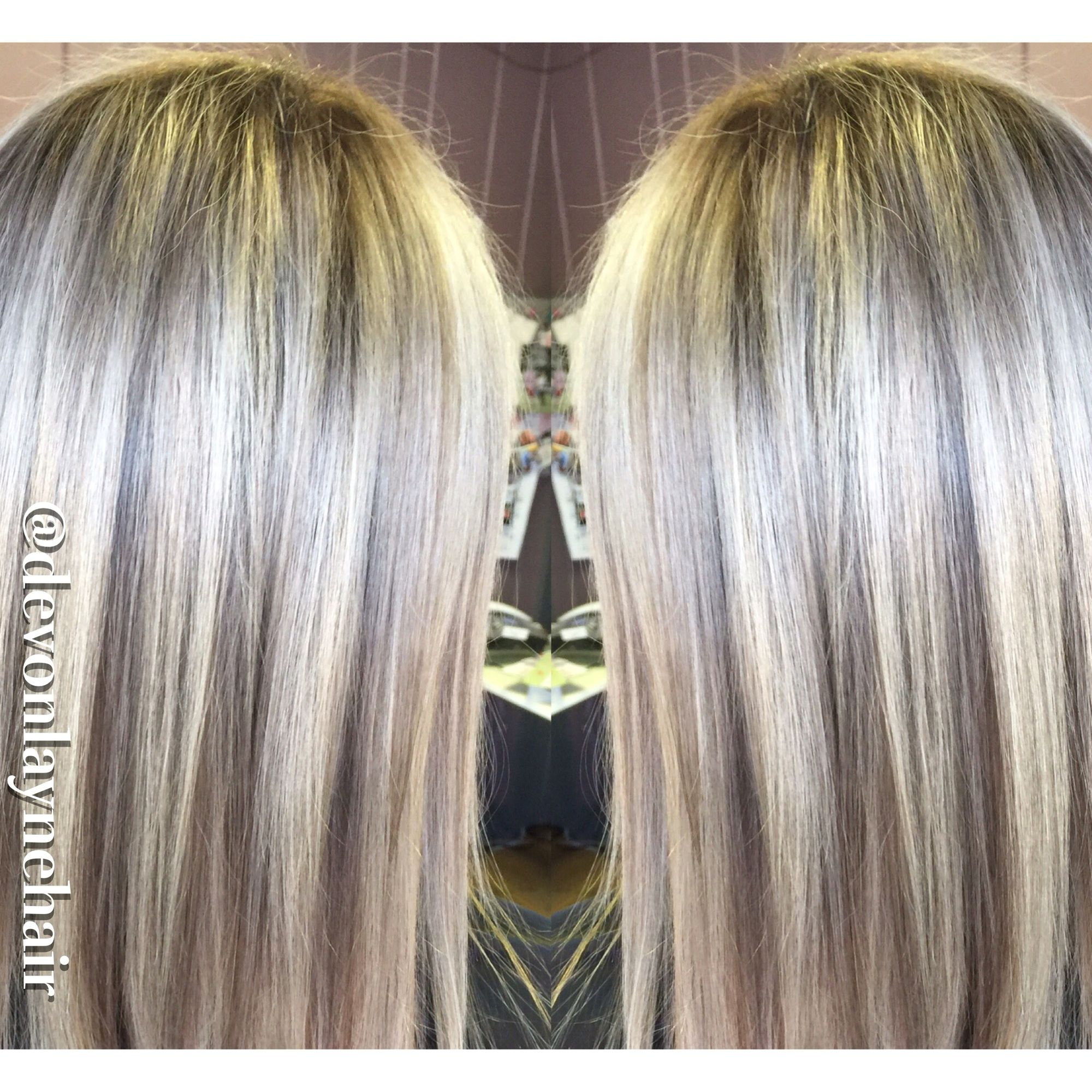 Icy Blonde Highlights Baby Lowlights Shadow Root Straight Icy