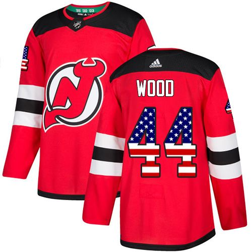 Adidas Devils  44 Miles Wood Red Home Authentic USA Flag Stitched NHL Jersey c4571171e