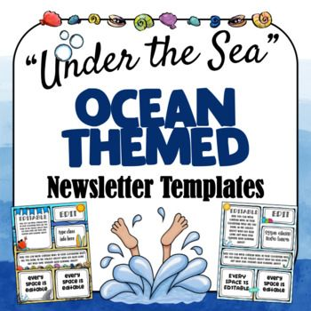 56b5a21c23113921be7e8e4e14cd1c49 Ocean Themed Newsletter Template on microsoft word, free printable monthly, free office, classroom weekly, fun company,