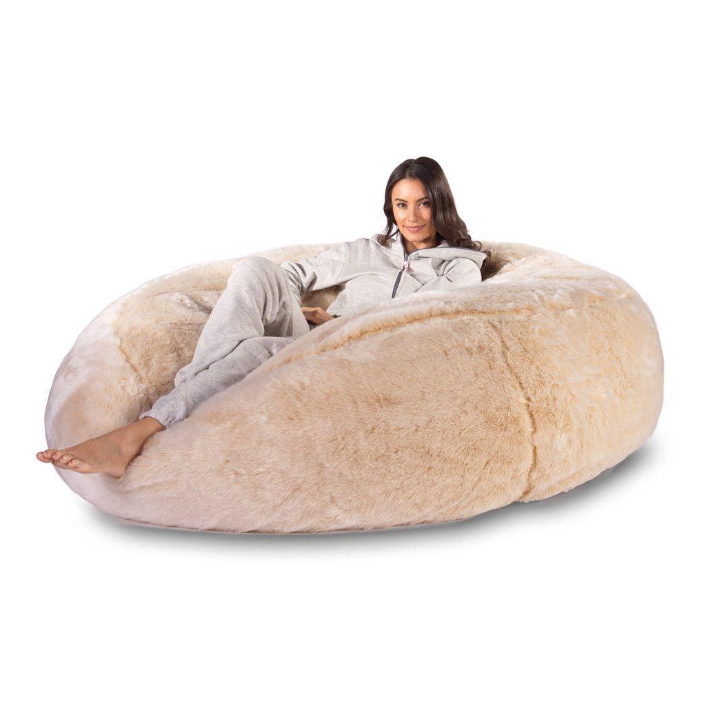Mega Mammoth Bean Bag Sofa Fluffy Faux Fur White Fox Fur Bean Bag Bean Bag Sofa Sofa Styling