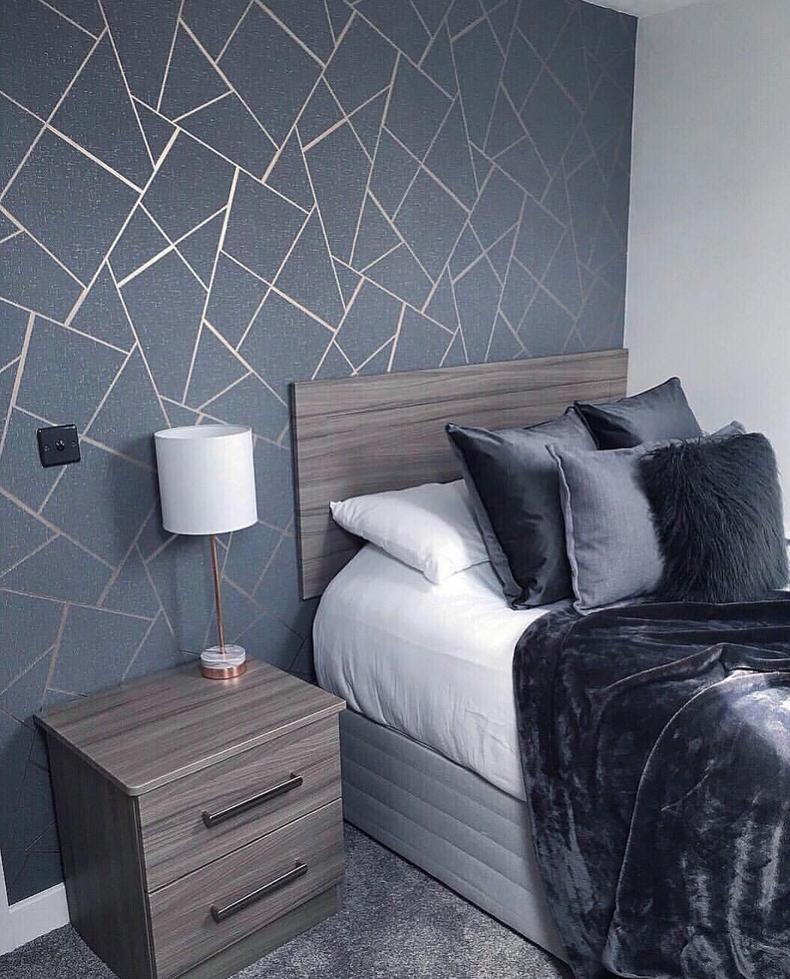 Wm4228301 Wallpaper Gray Charcoal Black Metallic Textured Geometric Triangle Glitter Feature Wall Bedroom Bedroom Wall Paint Girl Bedroom Designs