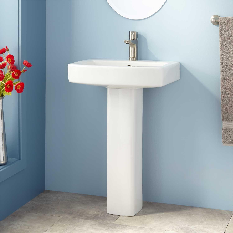 Medeski Porcelain Pedestal Sink Small Bathroom Sinks Modern Pedestal Sink Pedestal Sink Bathroom