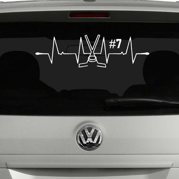 Personalized hockey heartbeat car decal hockey car decal hockey player decal personalized hockey sticker hockey custom hockey decor