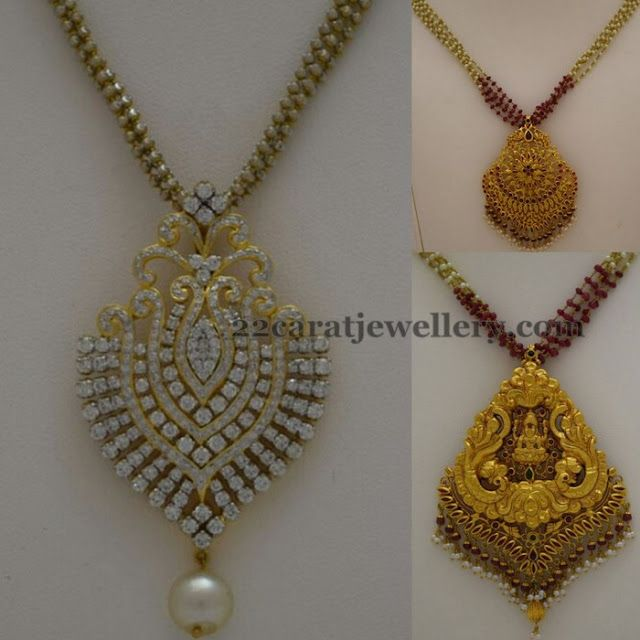 Antique And Diamond Pendant Sets With