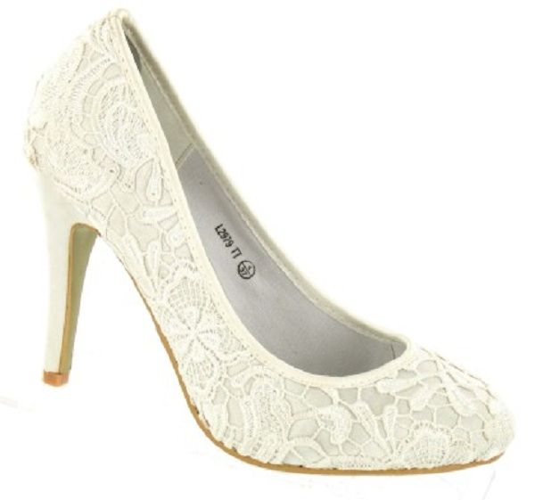 Fresh Ivory Vintage Lace Wedding Shoes For Brides
