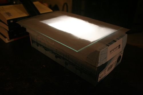 DIY light box with picture frame, shoebox, aluminum foil and flashlight