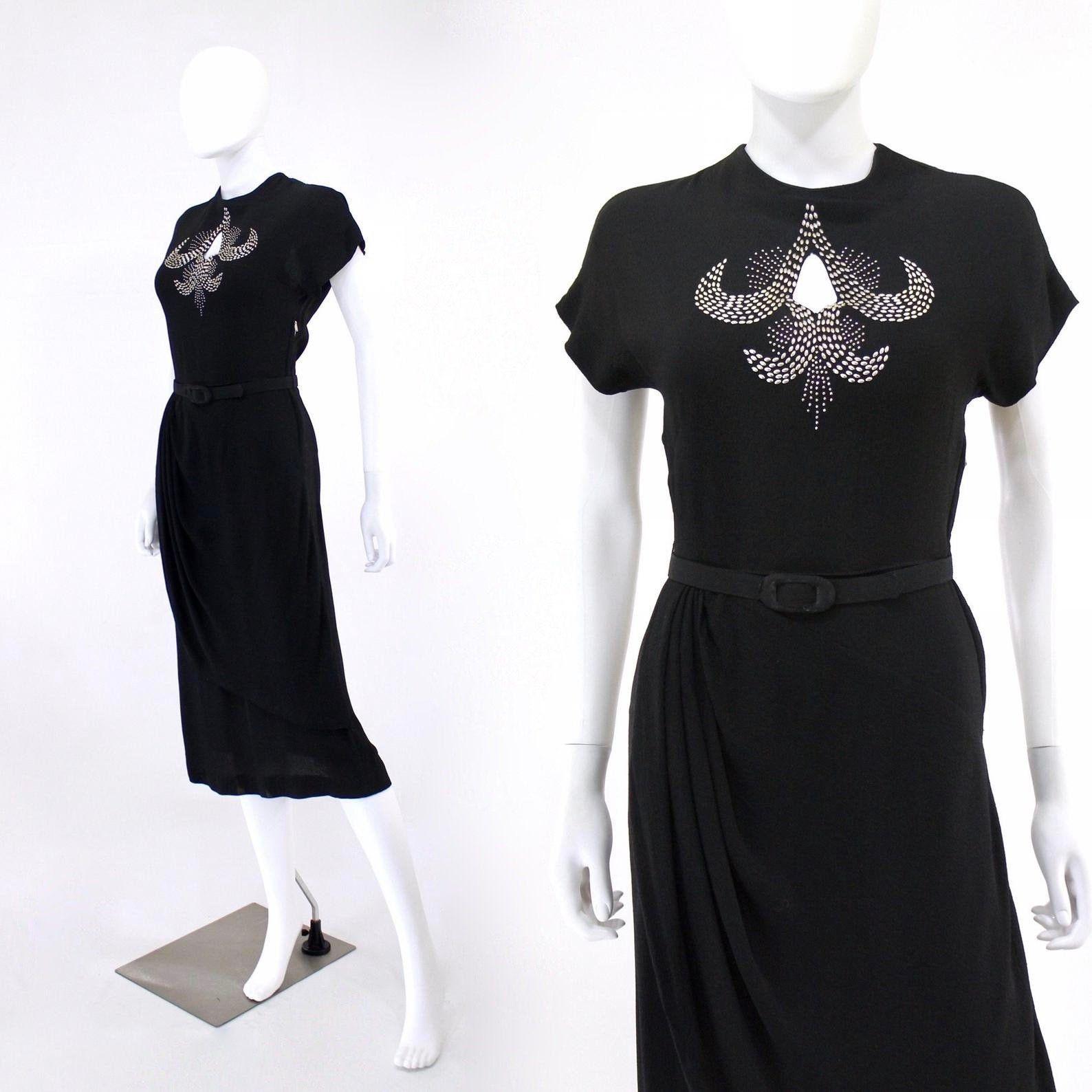 1940s Black Dress 40s Lbd Black Crepe Cocktail Dress Vintage 1940s Dress With Silver Tone Studding 40s Cocktail Dress Vintage Dresses 40s Studded Dress [ 1588 x 1588 Pixel ]