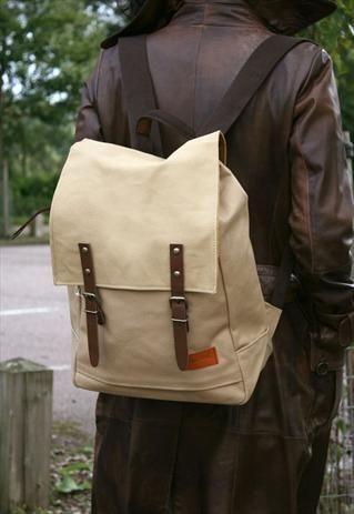 Mercury Cotton Canvas Satchel Style Backpack - Beige