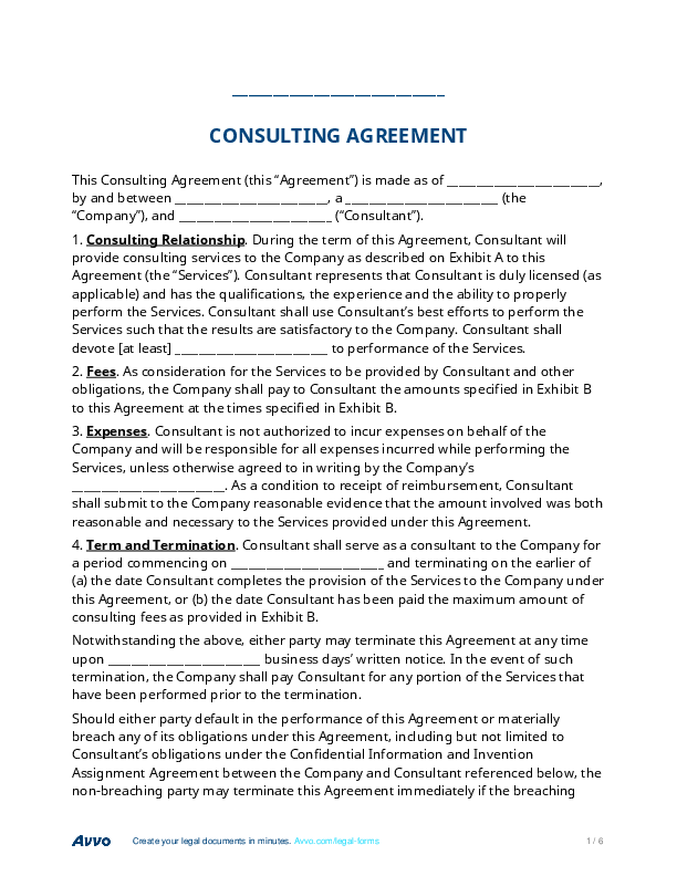 Fill Out A Consulting Agreement Form Online For Free Law